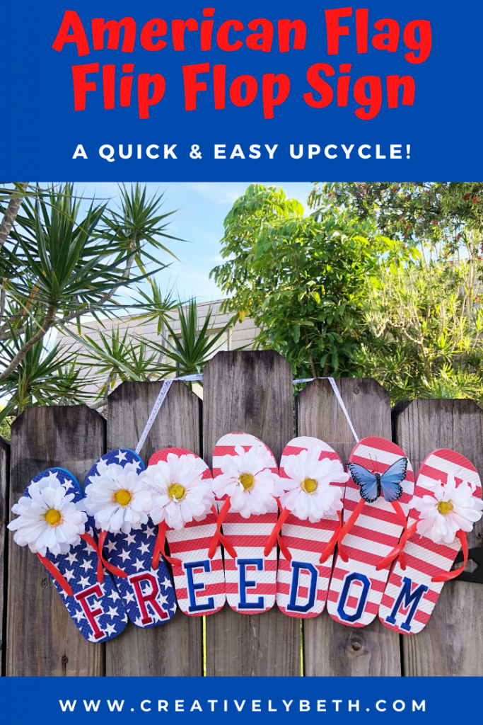 Red, white and blue flip flops with stars and stripes attached together to create a sign Creatively Beth