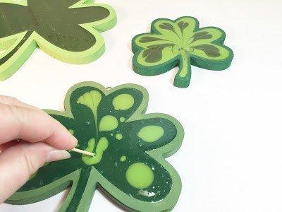 Marbled Resin Shamrocks a St Patricks Day DIY Creatively Beth