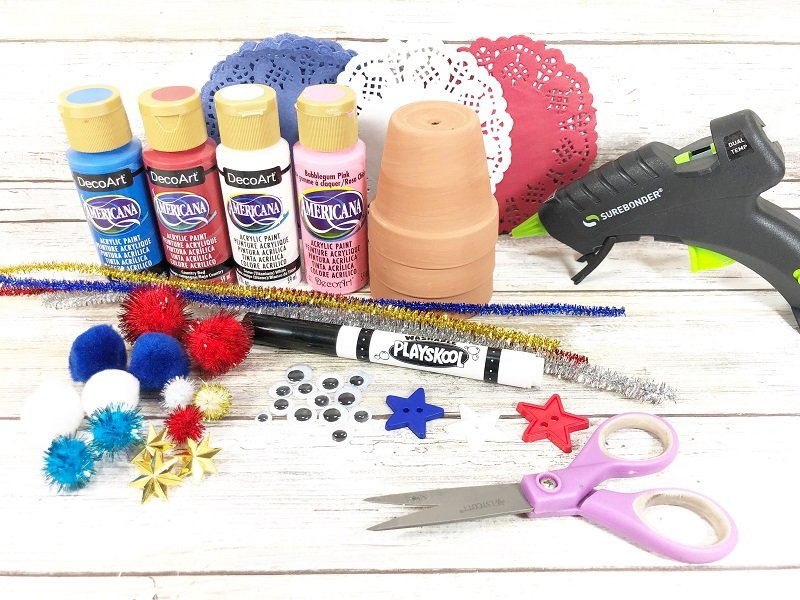 Dollar Tree Materials needed to create clay pot love bugs Creatively Beth #creativelybeth #dollartreecrafts #patrioticcrafts #claypotcrafts #fourthofjuly