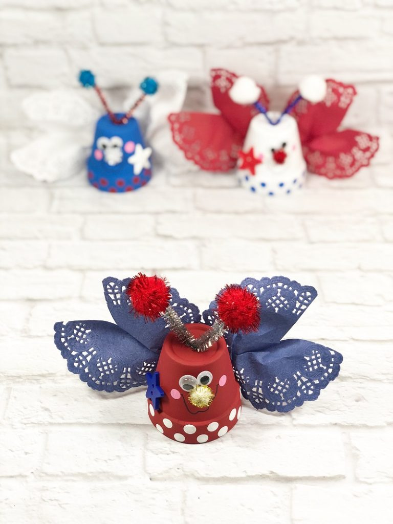 Fourth of July Patriotic Clay Pot Love Bugs Creatively Beth #creativelybeth #dollartreecrafts #patrioticcrafts #claypotcrafts #fourthofjuly