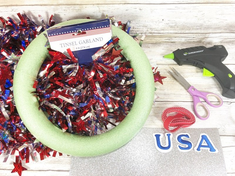 Dollar Tree materials needed to create a fourthof july garland wreath Creatively Beth #creativelybeth #patriotic #crafts #dollartree #fourthofjuly #quickandeasy