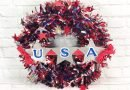 Dollar Tree Patriotic Garland Wreath by Creatively Beth #creativelybeth #patriotic #crafts #dollartree #fourthofjuly #quickandeasy
