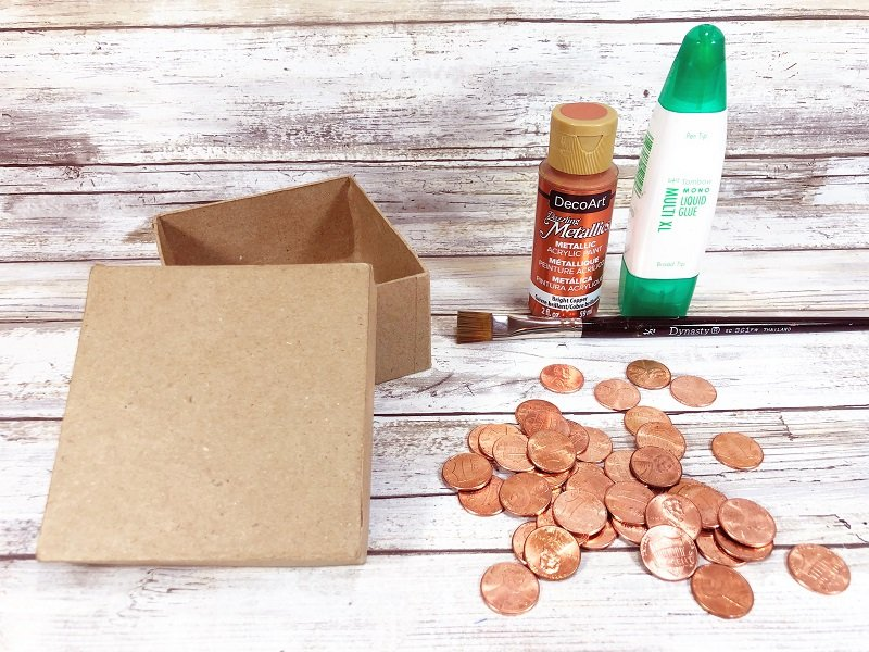 Materials needed to create a recycled penny gift box Creatively Beth #creativelybeth #recycled #upcycled #penny #crafts #giftbox