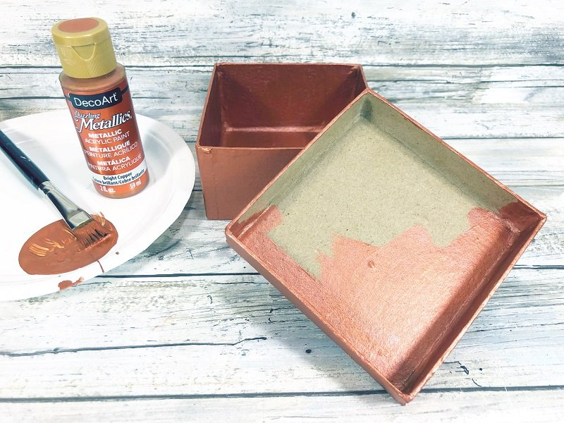Paint inside and outside of gift box with copper paint as a base Creatively Beth #creativelybeth #recycled #upcycled #penny #crafts #giftbox