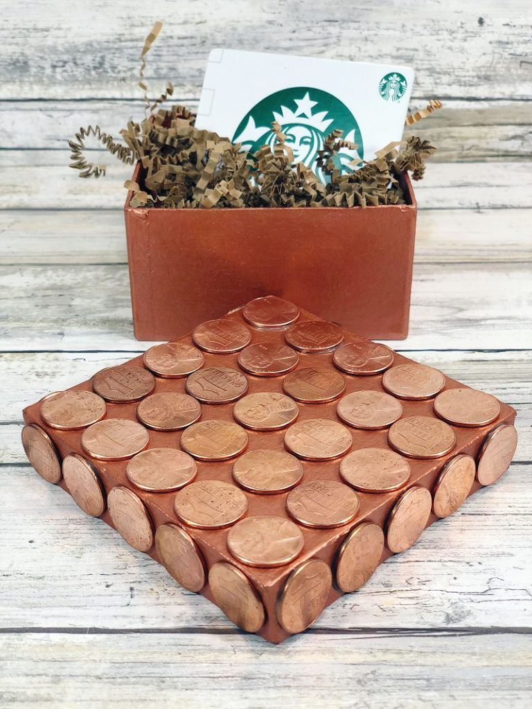 Recycled Penny Gift Box Creatively Beth #creativelybeth #recycled #upcycled #penny #crafts #giftbox