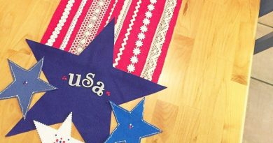 Stars and Stripes Table Runner a no-sew DIY for the Fourth of July Creatively Beth #creativelybeth #feltcrafts #nosew #patriotic #homedecor