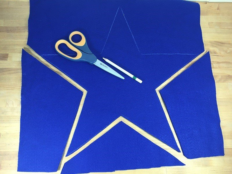 Cut two fifteen inch wide stars from royal blue felt Creatively Beth #creativelybeth #feltcrafts #nosew #patriotic #homedecor