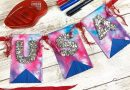 Materials needed to create a tie-dye fourth of july banner Creatively Beth #creativelybeth #tiedye #tombowdualbrushpens #splashtechnique #patriotic #crafts