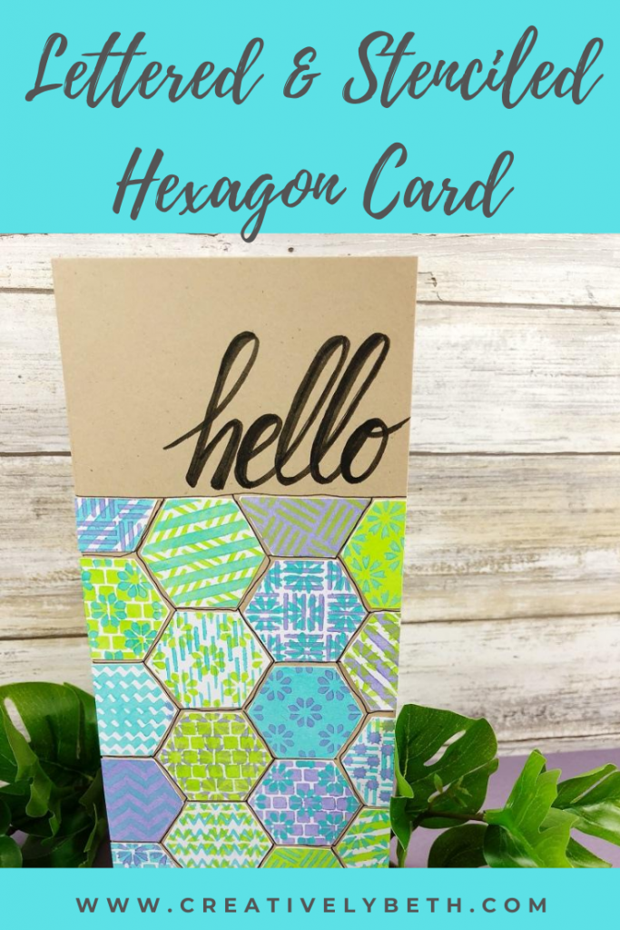 Stenciled Hexagon Hello Card with Ann Butler Designs Creatively Beth #creativelybeth #cards #stenciled #handlettered