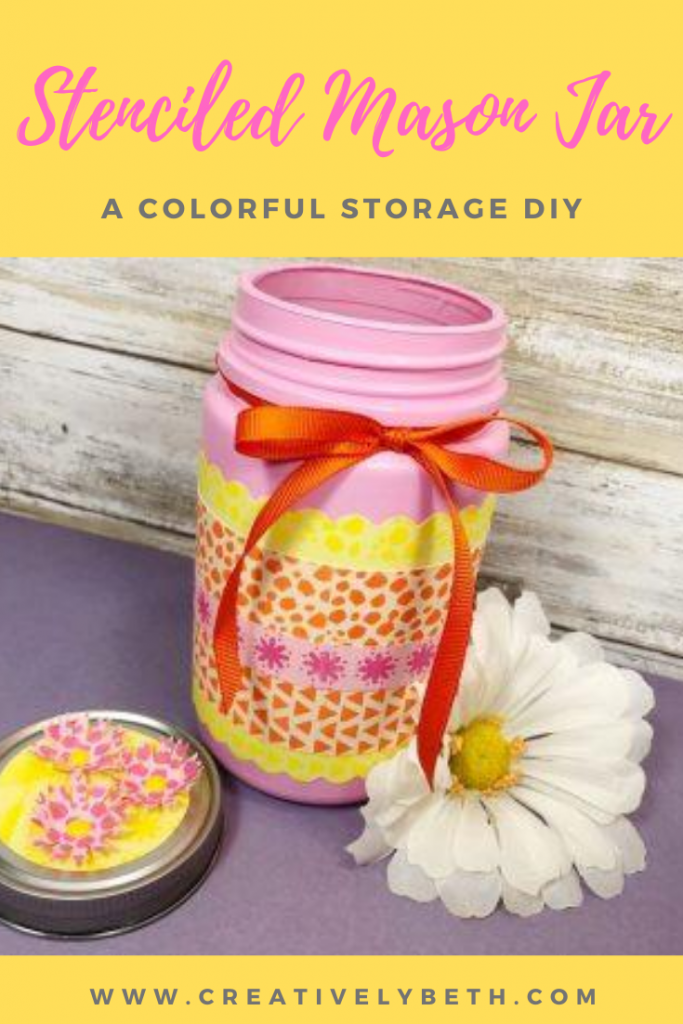 DIY Stenciled Mason Jar with Ann Butler Designs Creatively Beth #creativelybeth #stencil #masonjar #crafts #gifts