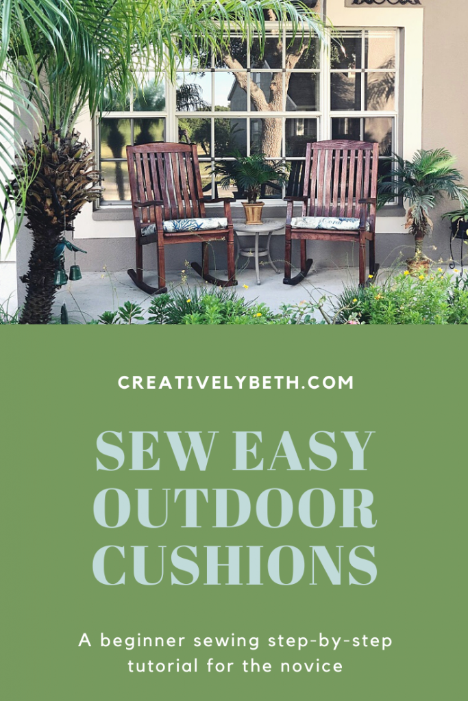 Sew easy outdoor cushions with NuFoam from Fairfield World Creatively Beth #creativelybeth #sewing #quickandeasy #sewpatiocushions