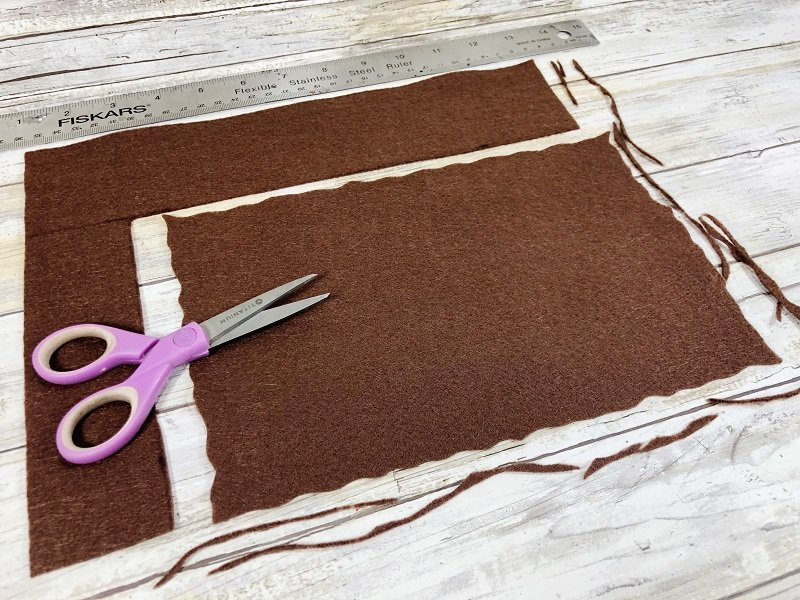 Trace and cut out the book cover from brown felt Creatively Beth #creativelybeth #harrypottercrafts #crafts #kidscrafts #feltcrafts