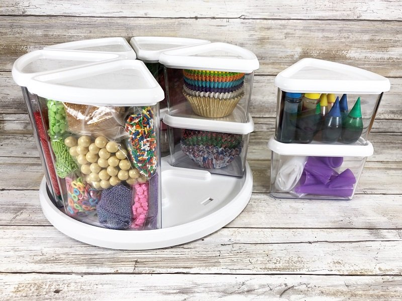 The Deflecto Rotating Carousel Organizer has three six inch bins and six three inch bins Creatively Beth #creativelybeth #freeprintable #doodle #flowers #cupcaketopper