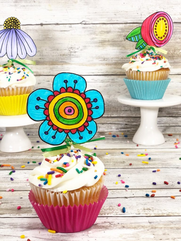 Doodle Flower Cupcake Toppers With A Free Printable Creatively Beth