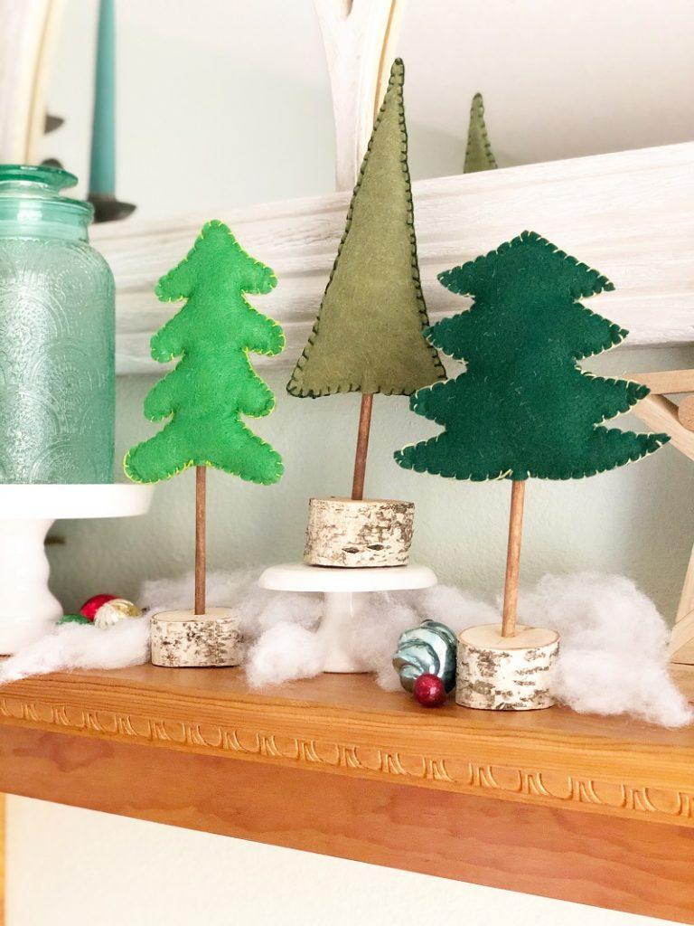 A Trio of Felt Trees Stuffed with Poly-Fil from Fairfield World Creatively Beth #creativelybeth #polyfil #fairfieldworld #christmasinjuly #manteldecor