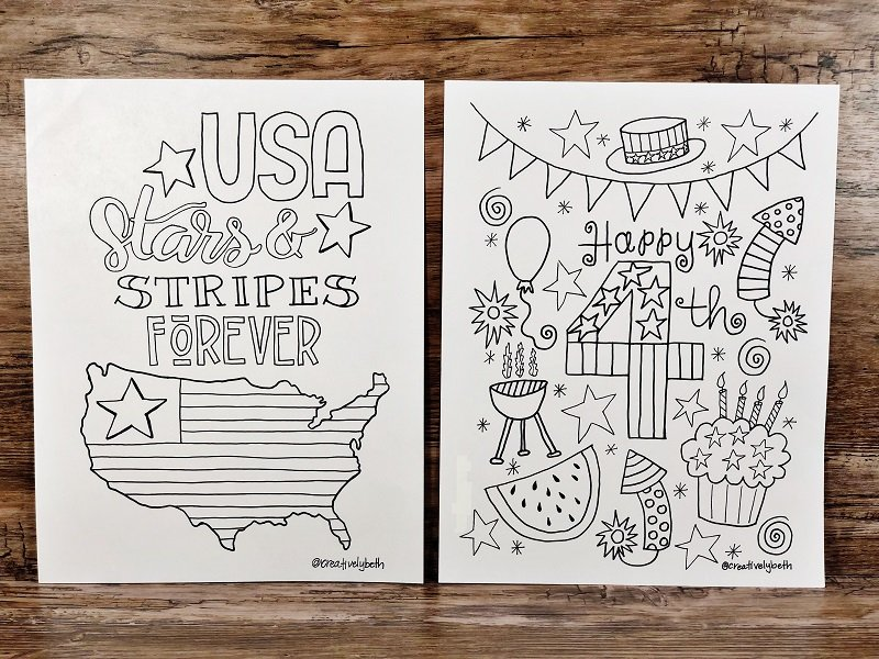 Four Hand Drawn Patriotic Printables for the Fourth of July Creatively Beth #creativelybeth #free #printable #coloringpage #printandcolor #fourthofjuly #handdrawn