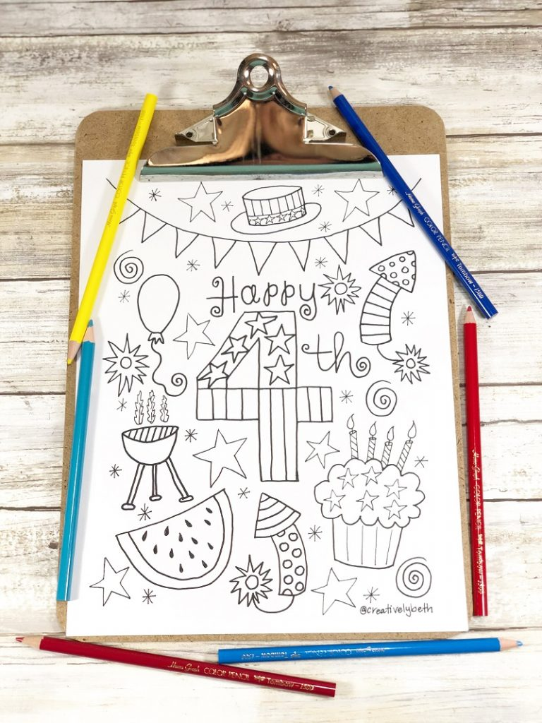 Happy 4th of July coloring page Creatively Beth #creativelybeth #free #printable #coloringpage #printandcolor #fourthofjuly #handdrawn