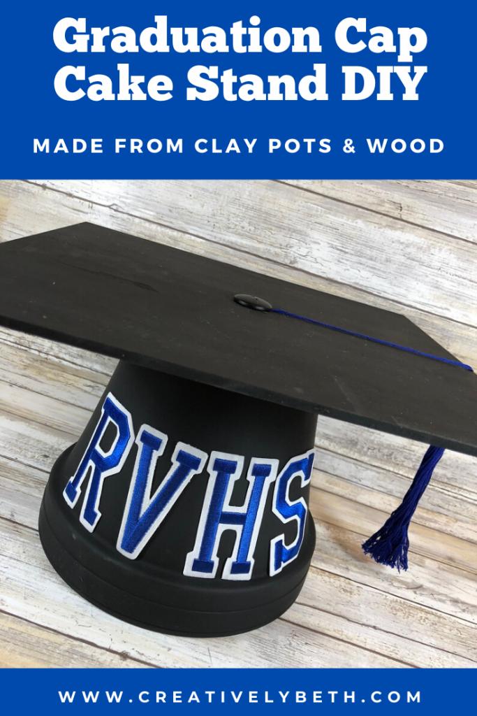 DIY Graduation Cap Cake Stand Creatively Beth #creativelybeth #graduationparty #diycakestand #claypotcrafts