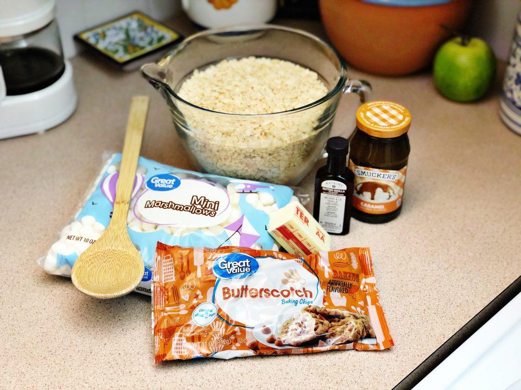 Ingredients needed to create butterbeer rice krispie treats Creatively Beth #creativelybeth #butterbeer #harrypotter #ricekrispietreats