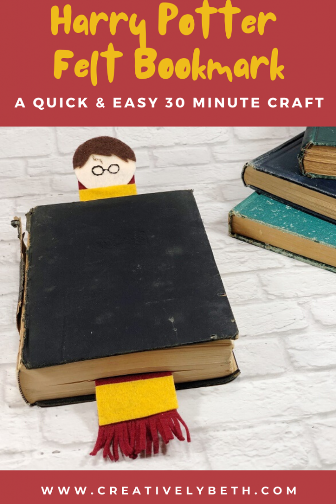 Harry Potter Felt Bookmark with a FREE Pattern Sheet Creatively Beth #creativelybeth #harrypottercrafts #harrypotter #feltcrafts #kidscrafts