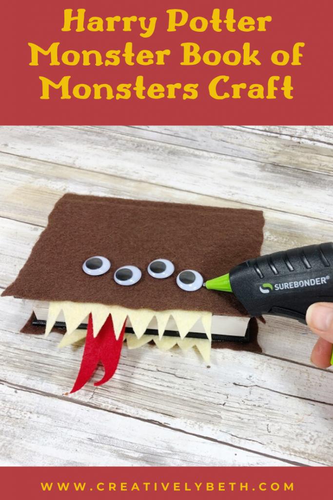 How to create a DIY Harry Potter Monster Book of Monsters Creatively Beth #creativelybeth #harrypottercrafts #crafts #kidscrafts #feltcrafts