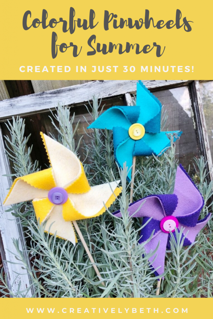Yellow purple and turquoise colorful pinwheels for Summer Creatively Beth #creativelybeth #kidscrafts #feltcrafts #summer #pinwheels