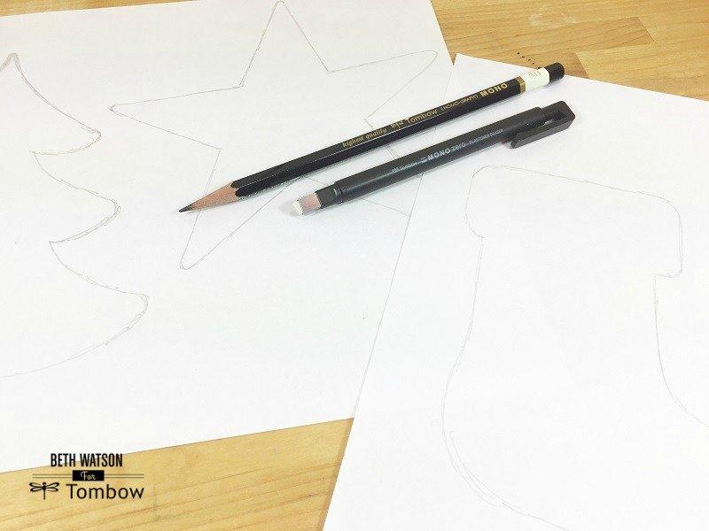 Sketch Christmas shapes onto plain paper Creatively Beth #creativelybeth #christmas #ornaments #recycled
