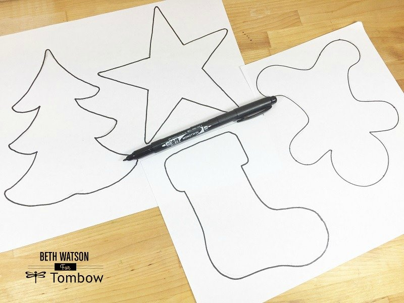 Outline shape with MONOTWIN Permanent Marker from Tombow Creatively Beth #creativelybeth #christmas #ornaments #recycled