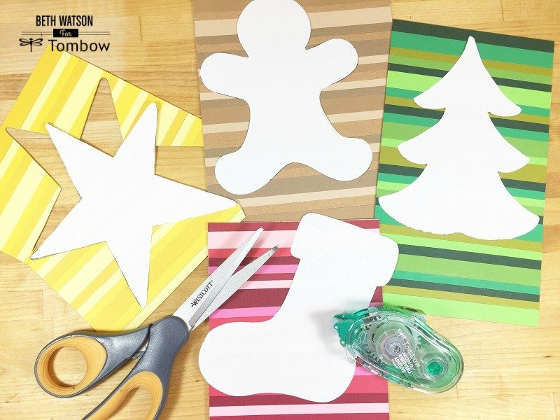 Cut shapes from the scrap paper Creatively Beth #creativelybeth #christmas #ornaments #recycled