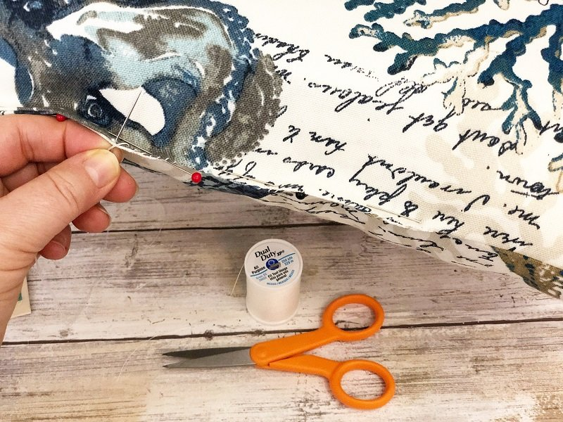 Hand sew the opening closed with small whip stitches and matching thread Creatively Beth #creativelybeth #sewing #quickandeasy #sewpatiocushions