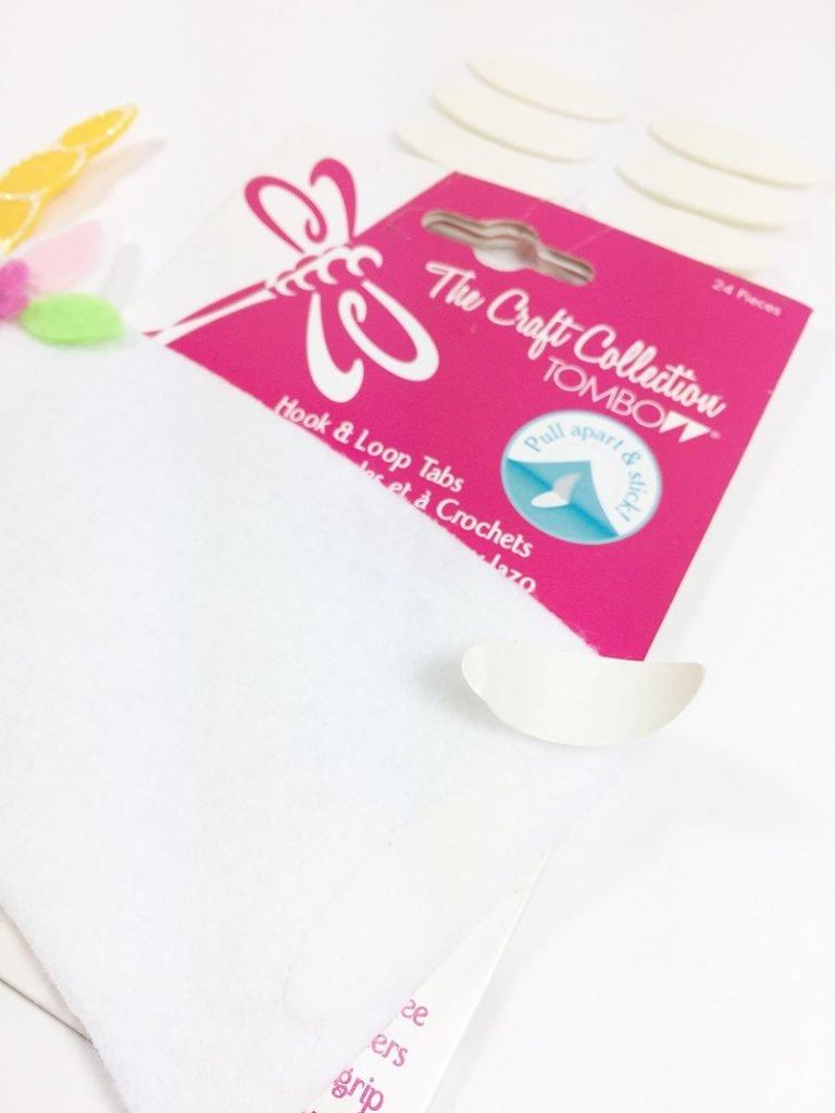 Add hook and loop tape closure to finish Creatively Beth #creativelybeth #coffee #cozy #unicorn #kuninfelt #felt #craft #diy
