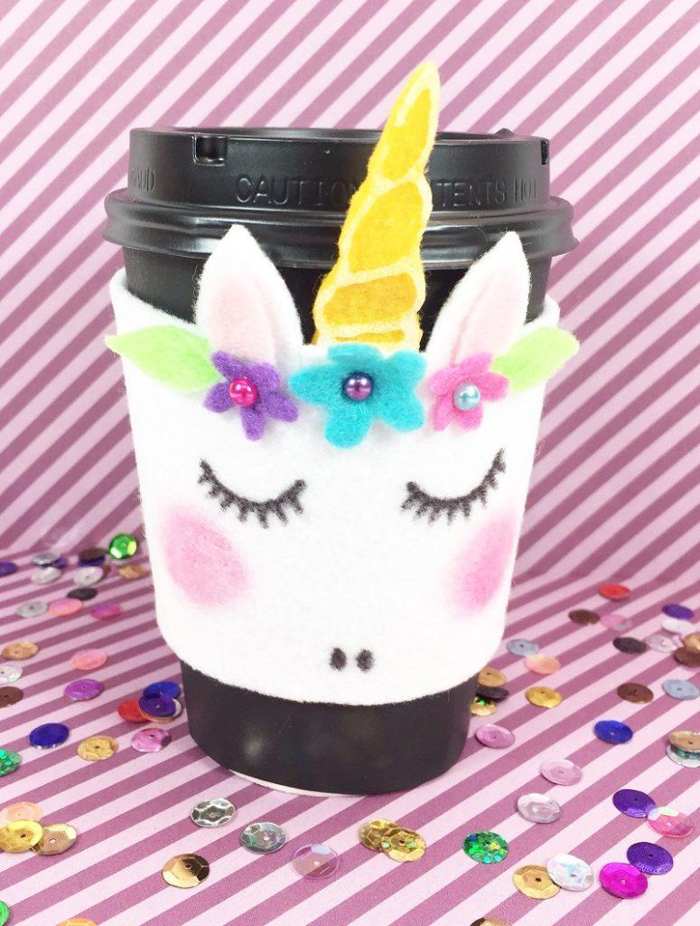 Create a Magical Unicorn Coffee Cozy with FREE Patterns Creatively Beth #creativelybeth #coffee #cozy #unicorn #kuninfelt #felt #craft #diy