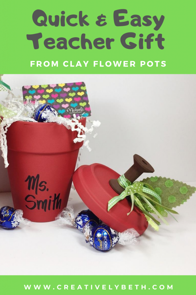 Easy Clay Pot Apple for Teacher a 30 Minute DIY Craft Creatively Beth #creativelybeth #teacher #apple #craft #claypot #terracottapot #school