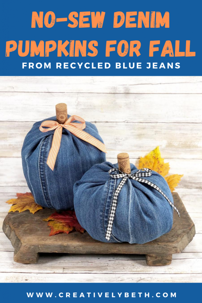 How to Create Denim Pumpkins with Recycled Jeans Creatively Beth #creativelybeth #upcycle #recycle #denim #crafts #falldecor #pumpkins #autumndecor #diy