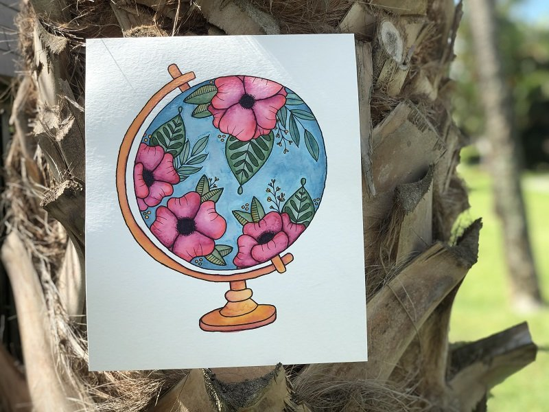 Free Floral Globe Printable to Watercolor with Dual Brush Pens Creatively Beth #creativelybeth #freeprintable #handdrawn #watercolor #tombowdualbrushpens