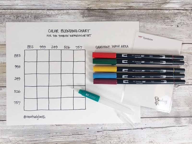 FREE Printable Color Blending Chart for the Tombow Watercolor Set Creatively Beth #creativelybeth #freeprintable #handdrawn #watercolor #tombowdualbrushpens