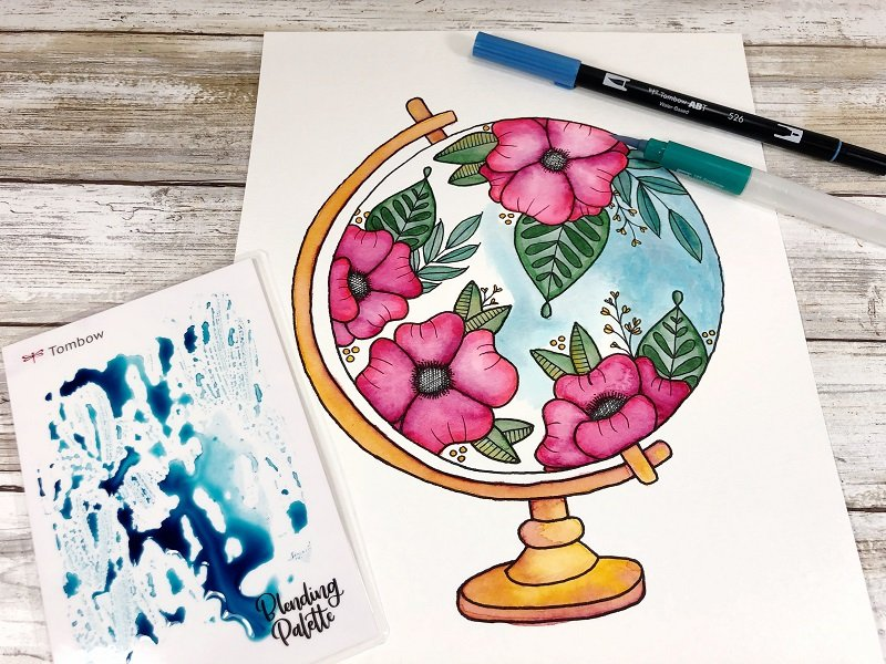 Apply Dual Brush Pen 526 onto the blending palette, add water to create a wash for the background of the globe Creatively Beth #creativelybeth #freeprintable #handdrawn #watercolor #tombowdualbrushpens