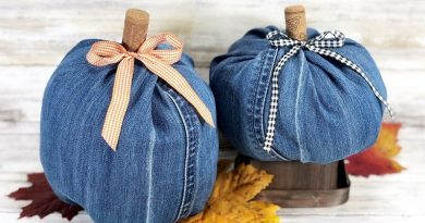 How to Create Denim Pumpkins with Recycled Jeans Creatively Beth #creativelybeth #upcycle #recycle #denim #crafts #falldecor #pumpkins #autumndecor #diy