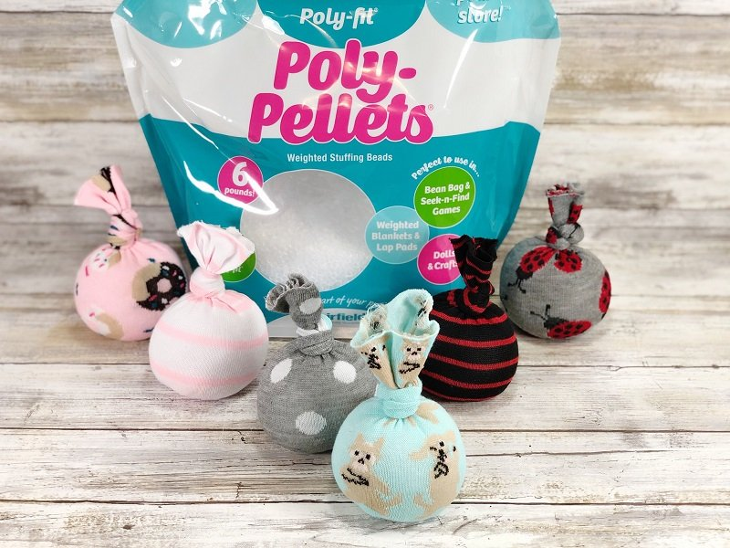 Make no-sew bean bags from Dollar Tree socks and Poly-Pellets Creatively Beth #creativelybeth #kidsgames #beanbags #polypellets #fairfieldworld