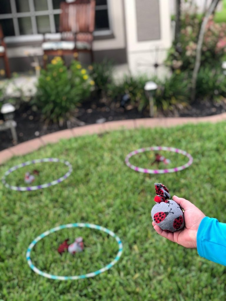 No-Sew Bean Bags for Patio Games with the Kids Creatively Beth #creativelybeth #kidsgames #beanbags #polypellets #fairfieldworld