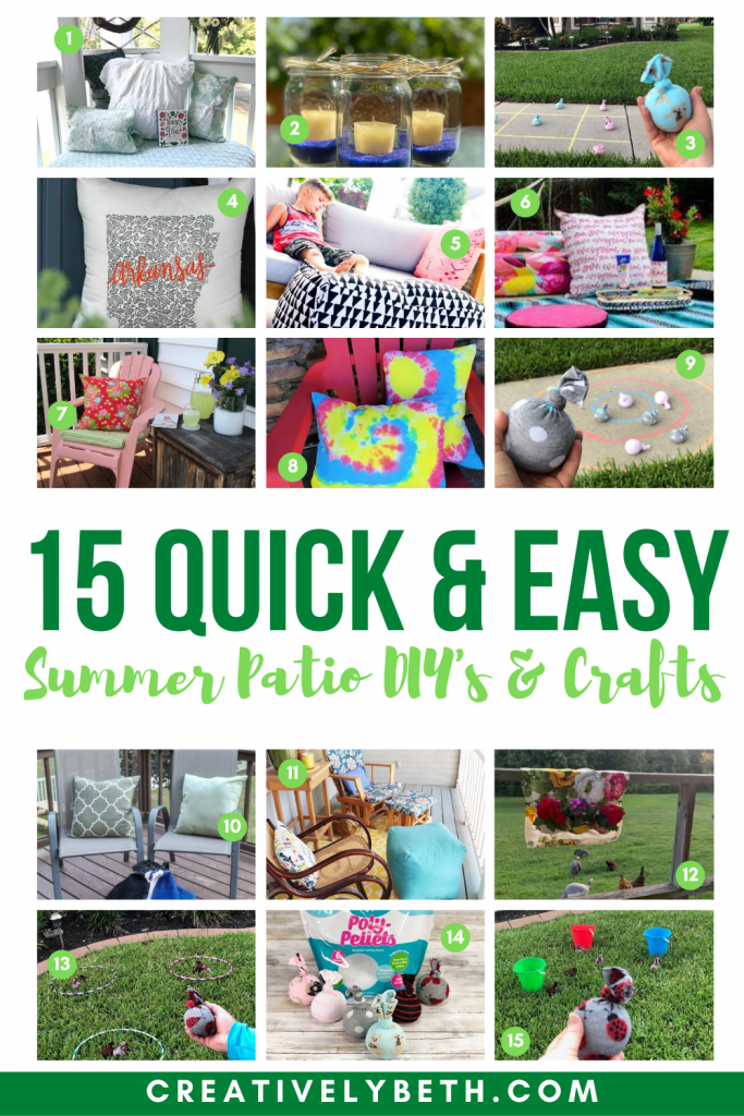 15 Quick and Easy Summer Patio Crafts and DIY Projects featuring products from Fairfield World Creatively Beth #creativelybeth #fairfieldworld #patio #DIY #crafts