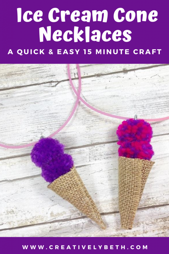 Pom Pom and Burlap Ice Cream Cone Necklace by Creatively Beth #creativelybeth #pompom #kidscraft #icecreamcone #quickandeasy #15minutecrafts