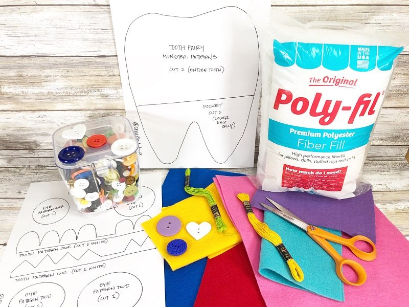 Supplies needed for Tooth Fairy Monster Pillow for Boys and Girls with FREE Patterns Creatively Beth #creativelybeth #toothfairy #fairfieldworld #80daysofpolyfil #polyfil #felt #monster #craft
