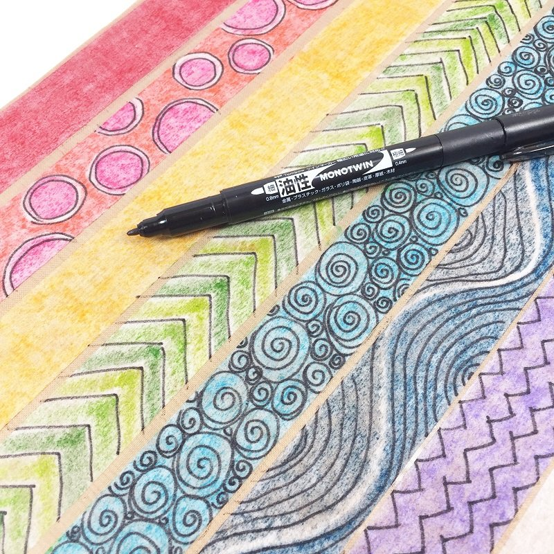 Add additional patterns with the MONOTWIN Permanent Marker Creatively Beth #creativelybeth #diy #washitape #tombow #dualbrushpens #makeyourown