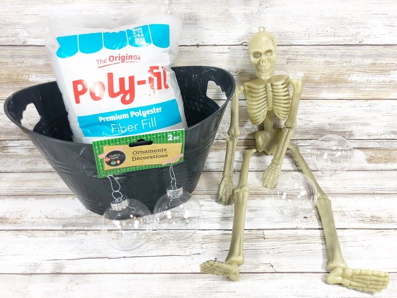 Materials needed to DIY Skeleton Bubble Bath with Poly-Fil Creatively Beth #creativelybeth #polyfil #ffw80 #dollartreecrafts #halloweencrafts