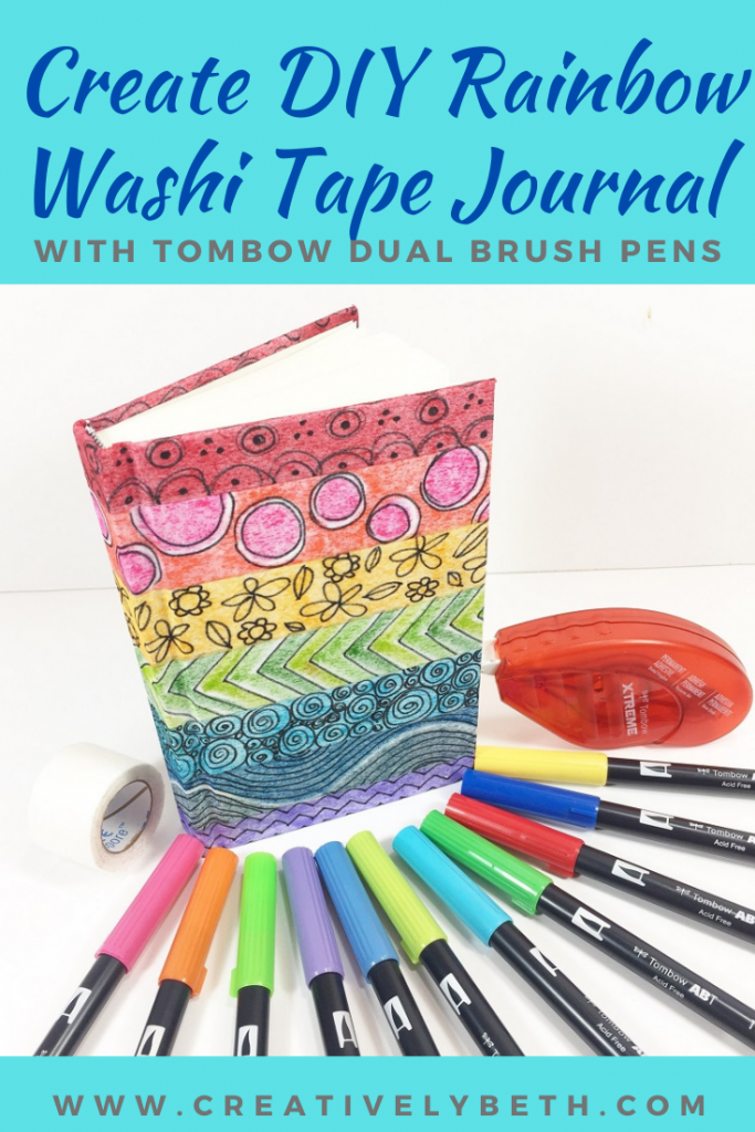 How to DIY Rainbow Washi Tape with Colorful Dual Brush Pens