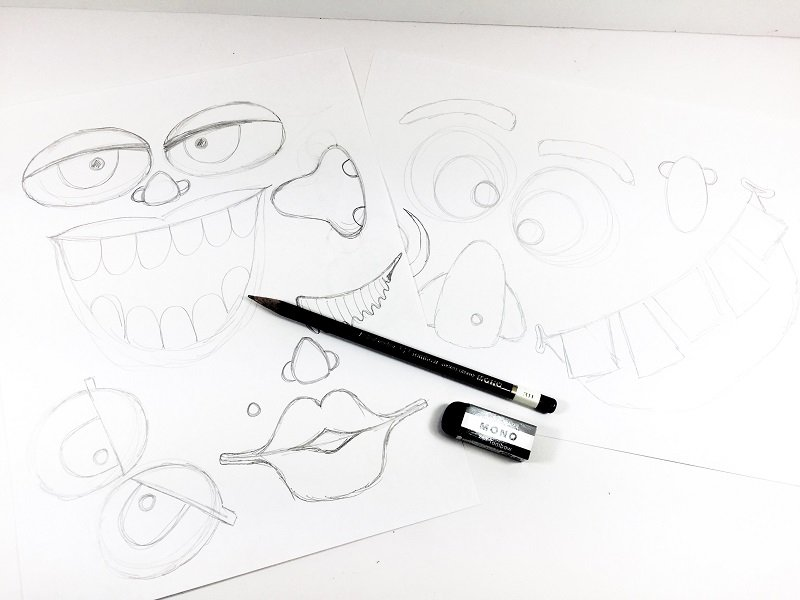 Sketch out monster eyes, noses and mouths with a pencil on plain paper Creatively Beth #creativelybeth #monsterpumpkins #nocarvepumpkins #freeprintable #kidscraft #halloweencraft