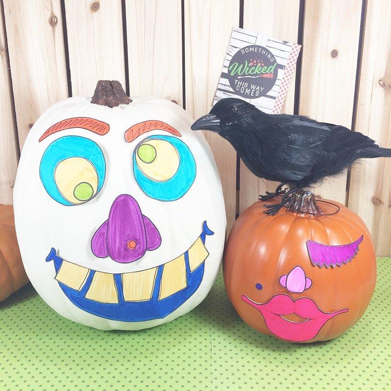 How to DIY the Easiest No-Carve Halloween Pumpkins with Creatively Beth #creativelybeth #monsterpumpkins #nocarvepumpkins #freeprintable #kidscraft #halloweencraft