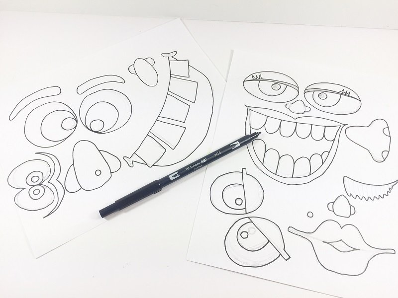 Ink in your monster facial features with the bullet tip of the Tombow Dual Brush Pen Creatively Beth #creativelybeth #monsterpumpkins #nocarvepumpkins #freeprintable #kidscraft #halloweencraft