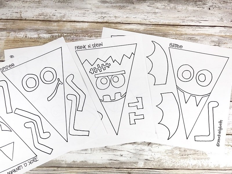 Ink in all six Halloween characters on three sheets of paper Creatively Beth #creativelybeth #halloween #banner #freeprintable #coloring #handdrawn
